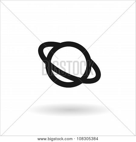 Black Saturn Vector Line Icon On White Background