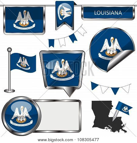 Glossy Icons With Flag Of Louisiana