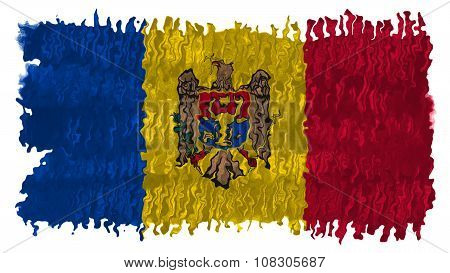 Flag of Moldova, Moldovan Flags painted with brush on solid background, paint texture