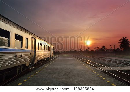Train Running In Sunset