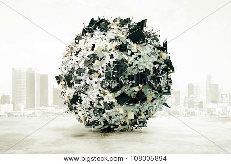 A Ball Of Office Accessories At City Background, Overworked Concept