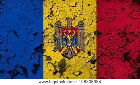 Flag of Moldova, Moldovan Flags painted on cracked paint texture