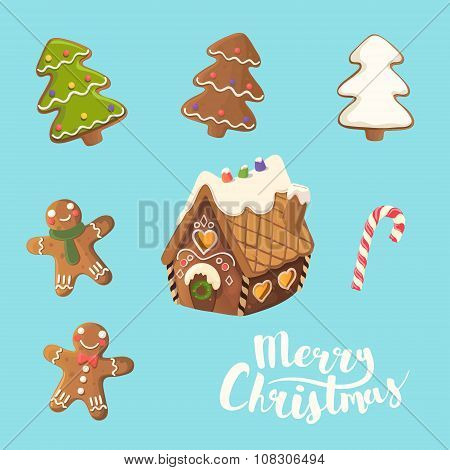 Cristmas Cookies Set. Ginger house, little man, christmas tree and candy. Vector.