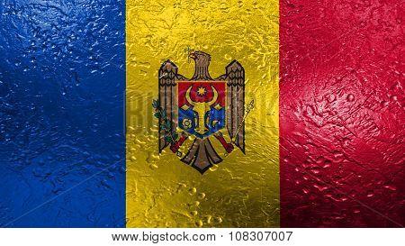 Flag of Moldova, Moldovan Flags painted on metal texture