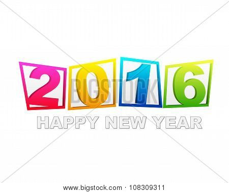 Happy New Year 2016 In Flat Colored Tablets