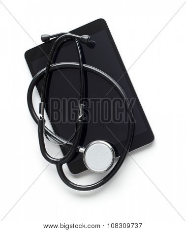 stethoscope and computer tablet on white background