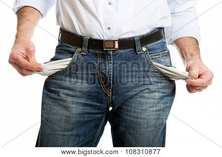 Man showing his empty pockets.