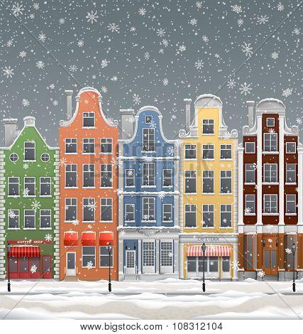 Europen Town At Winter