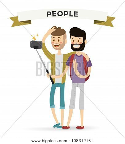 Selfie shots mans gays couple vector illustration