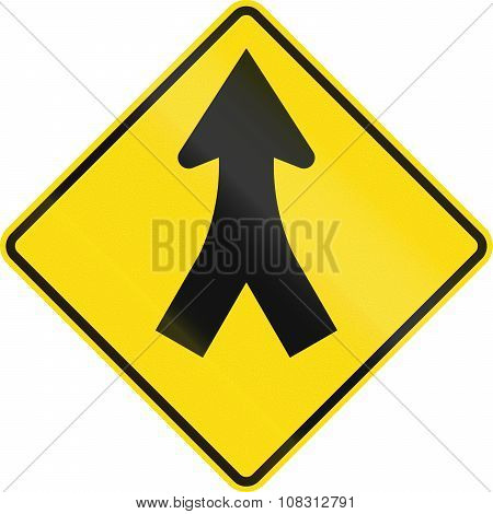 New Zealand Road Sign - Merge Ahead