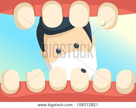 Patient With Open Throat In Dentist Office Illustration.