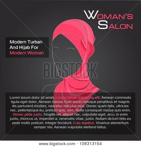 Arabic woman in red hijab on black
