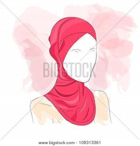 Woman dressed in colored hijab