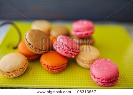 Macaroons - colored almond cookies with different flavors, French delights
