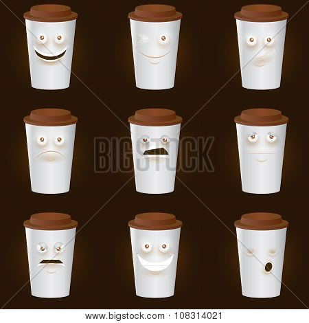 Coffee Cups Characters - Cute set of 9 coffee cups characters.
