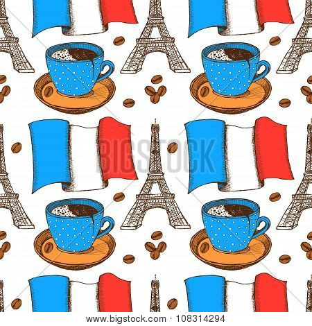 Sketch French Pattern In Vintage Style