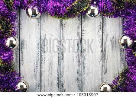 New Year Theme Christmas Tree Violet And Green Decoration And Silver Balls On White Retro Stylized W