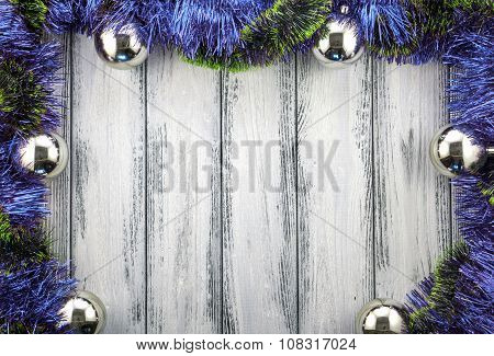 New Year Theme Christmas Tree Blue And Green Decoration And Silver Balls On White Retro Stylized Woo
