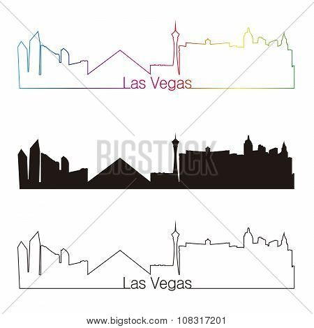 Las Vegas Skyline Linear Style With Rainbow