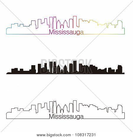 Mississauga Skyline Linear Style With Rainbow