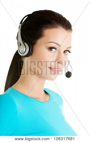 Friendly call center assistant smiling