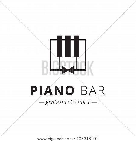 Vector minimalistic piano logo. Music sign