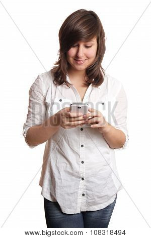 happy girl with smartphone
