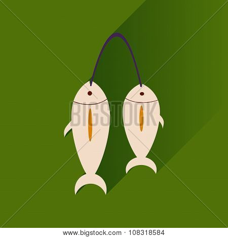 Flat with shadow Icon fresh fish bright background