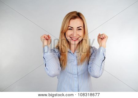 Healthy girl in diferent emotions, joyfulness, exultance