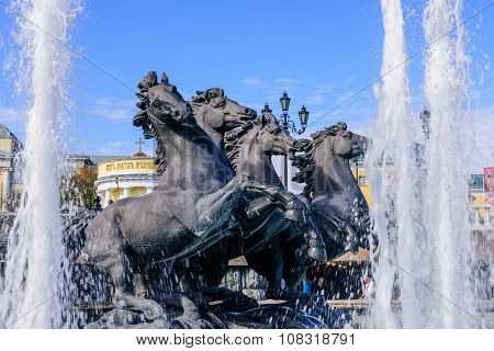 horse Sculptures and the fountain