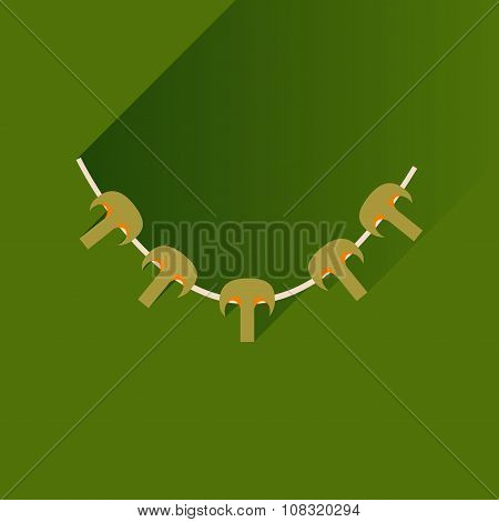 Flat with shadow Icon mushrooms skewers on stylish background
