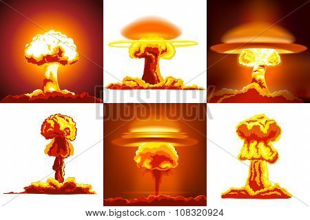 Nuclear explosions set. Nuclear explosions icons. Nuclear explosions banners. Nuclear explosions icons art. Nuclear explosions set art