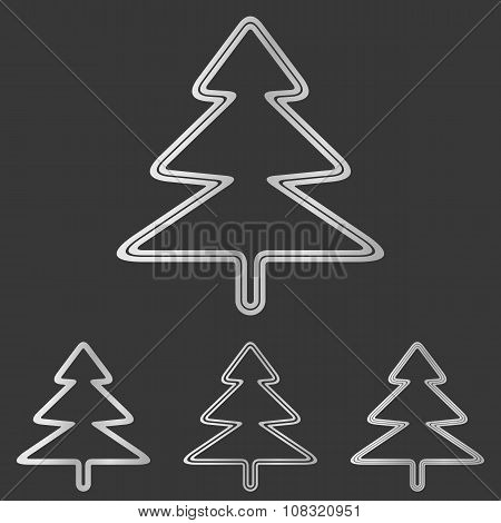 Silver pine tree logo design set