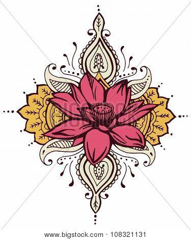 Lotus Paisley Henna Design