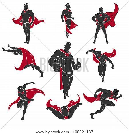 Superhero actions set in comics style. Superhero icons. Superhero set. Superhero collection. Superhero illustration. Superhero series