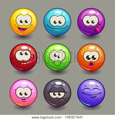 Cartoon comic round faces set