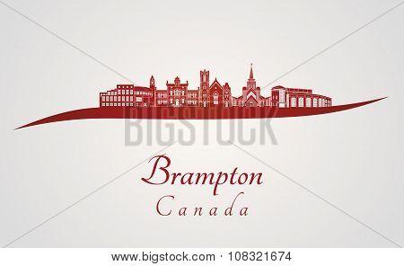 Brampton Skyline In Red