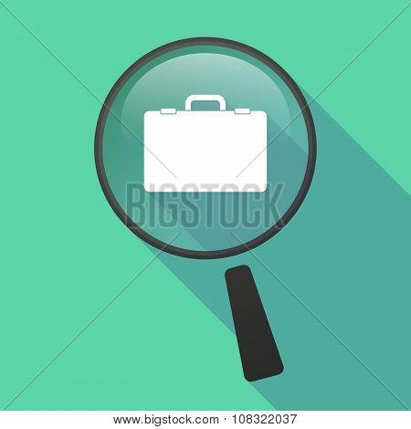 Long Shadow Magnifier Vector Icon With  A Breiefcase