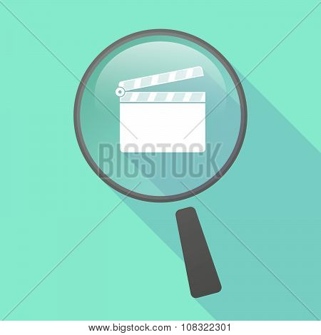 Long Shadow Magnifier Vector Icon With A Clapperboard