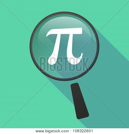 Long Shadow Magnifier Vector Icon With The Number Pi Symbol