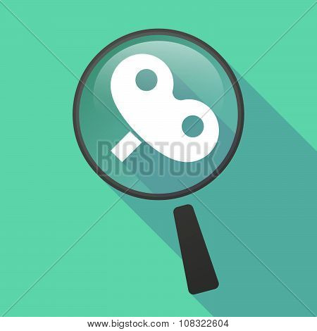 Long Shadow Magnifier Vector Icon With A Toy Crank
