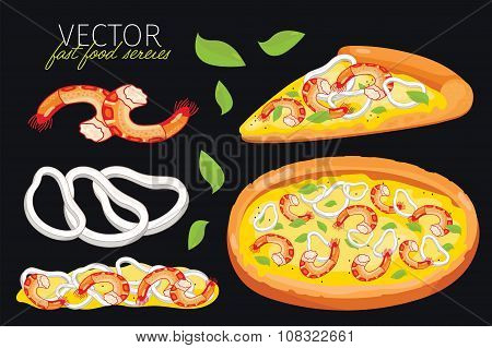 Isolated vector seafood pizza. Fast food set.