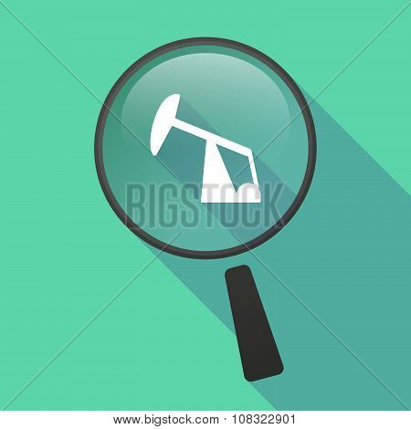 Long Shadow Magnifier Vector Icon With A Horsehead Pump