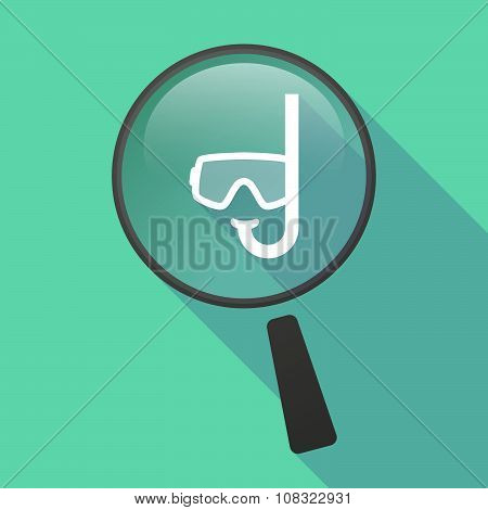 Long Shadow Magnifier Vector Icon With A Diving Goggles