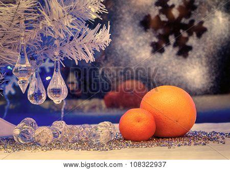 Christmas Tree, Tangerine, Vintage, Retro, Old-style Image,