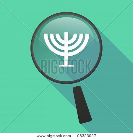 Long Shadow Magnifier Vector Icon With A Chandelier