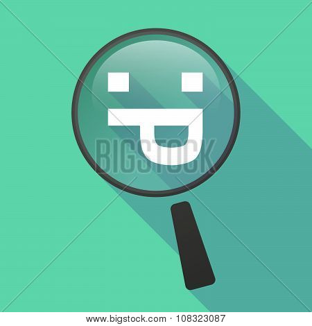 Long Shadow Magnifier Vector Icon With A Sticking Out Tongue Text Face