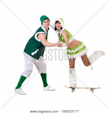 friendly couple dressed like a gnomes have fun and enjoy, isolated on white