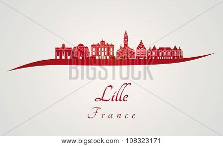 Lille Skyline In Red