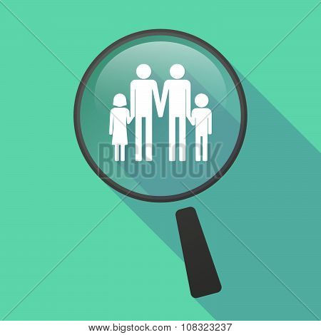 Long Shadow Magnifier Vector Icon With A Gay Parents  Family Pictogram